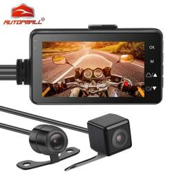 Câmeras e monitor + gravador moto e carro