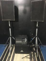 Mixer Behringuer 980pmo + 2 Caixas Passivas 300w cada + 2 Pedestais de caixas +