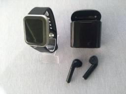 SmartWatch D20/Y68 Prata + Fone Bluetooth I7 TWS