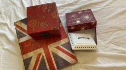 Livro caixa + saboneteira porcelana + porta joias