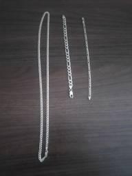 Corrente e pulseiras de prata 925