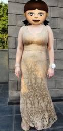 Vestido de festa dourado G