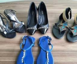 Lote com 4 calçados Carmen Steffans, Arezzo e Ramarim