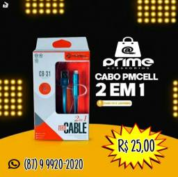 Cabo USB PMCELL 2 em 1 Micro V8 e Iphone