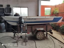 Vendo barco com motor Mercury 25 popa