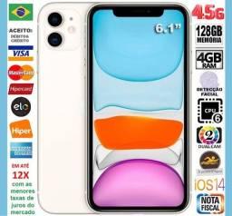 "IPhone 11 Branco 128GB 6Core, 4GB Ram, Tela 6.1"", 2Câm 12MP, Novíss, Cx, NF, Gar, Troco"