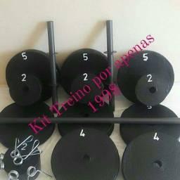Kit anilhas caseira em concreto 46 kls + 1 barra e 1 par de halteres + presilhas - Novos