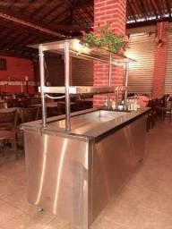 Expositor, buffet de frios e saladas e refrigerante inox e marmoré
