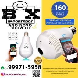 Câmera Ip Segurança Lâmpada Vr 360 Panorâmica Espiã