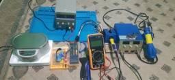 Tudo para conserto de smartphones, tuba ultra sônica, fonte de bancada