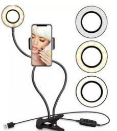 Ring light de mesa 2 em 1 com suporte de celular para maquiagem, selfie, live, make