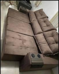 Sofá retrátil reclinável marrom entregamos e montamos grátis