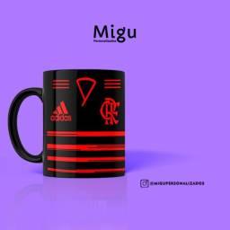 Caneca preta do Flamengo Caneca 100% preta do Flamengo Personalizada / Xícara