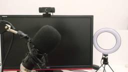 Kit streaming Mic + webcam + iluminação