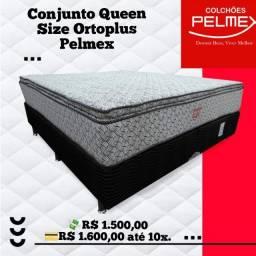 Conjunto Queen Size Ortoplus Pelmex com Molas Ensacadas