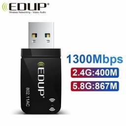 Título do anúncio: Adaptador Wifi Wi-Fi Wireless sem fio USB 2g 5g dual band 1300Mbp/s, até 12x no cartão