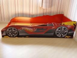 Cama carro de solteiro Hotwheels vermelho