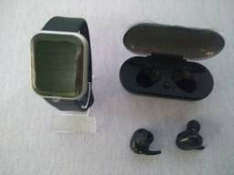 SmartWatch D20/Y68 Prata + Fone Bluetooth Y30