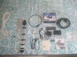 Kit antena digital, cabo coaxial longo, conversor digital * e adaptadores
