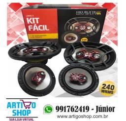 Auto Falante Bravox kIT Facil 6 + Triaxial Quadriaxial 6x9