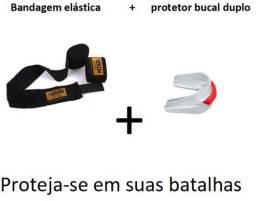 Kit Bandagem atadura Elástica 2,5 Mts + Protetor Bucal duplo NOVO