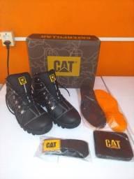 Bota Caterpillar Kit completo acompanha Cinto, carteira e palmilhas altas