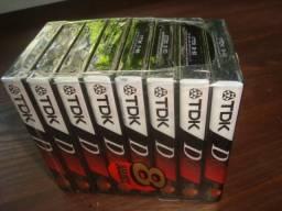 Fitas K-7, Cassete 60 min, TDK, importadas, lacradas de fabrica, Pack com 8