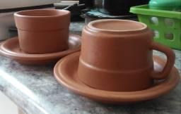 Conjunto xícaras de cerâmica