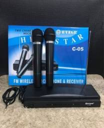 Kit 2 Microfones sem fio, Igreja, Mercado, karaokê,Novos a pronta entrega