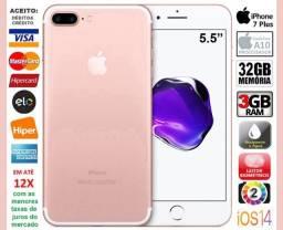 """IPhone 7 Plus Rose 32GB Quad Core, 3GB Ram, Tela 5.5"""", Câm 12MP, Novo, Cx, NF, Gar Troco"""
