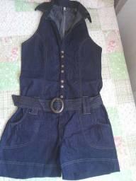 Macacão Jeans escuro veste M até o G