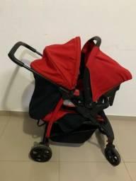 Carrinho com bebê conforto burigotto vermelho