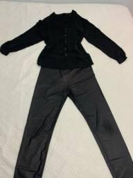 Camisa social Zara M e calça legging Forever 21 M