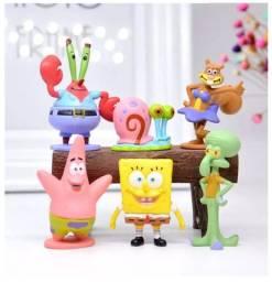Kit 6 Peças Miniaturas Do Bob Esponja Bonecos Colecionáveis