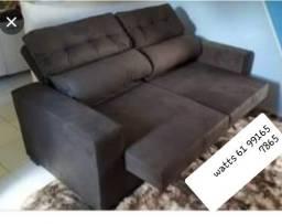 Sofá retrátil e reclinável em tec suede