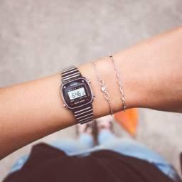 Relógio Casio Vintage Mini Diamond Prateado