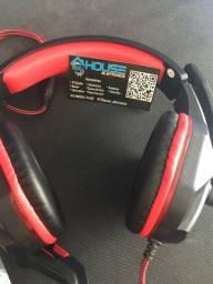 FONE HEADSET GAMER COM MICROFONE KNUP- KP-396 PRETO/VERMELHO(Fazemos entregas)