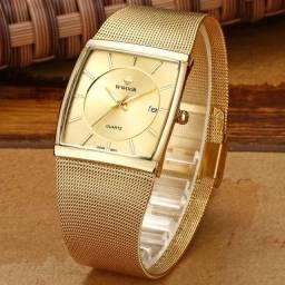 Relógio Dourado Gold Pulseira Linda Trabalhada em Aço Inox