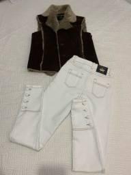 Calça Jeans M e colete G - ambos novinhos