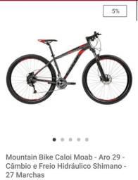 Bike - mountain (mtb)- Caloi Moab- Aro 29 - câmbio e freio hidráulico Shimano- 27 marchas