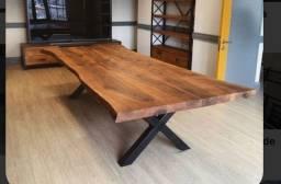 Mesas madeira e aço