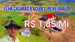 Sítio em Santo Antônio da Patrulha 17Ha c/ Casarão, 8 Açudes Galpão. Veja o Vídeo