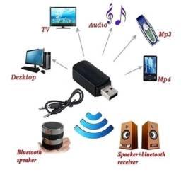 Receptor Bluetooth Usb P2 Áudio Músicas Som Carro<br>