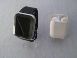 SmartWatch D20/Y68 Prata + Fone Bluetooth I12 TWS (colorido) à escolher