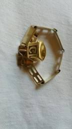 Bracelete e anel prata banhada