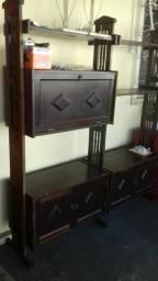 Estante antiga de madeira com puxadores provençais de metal _ ac troca _ entrego