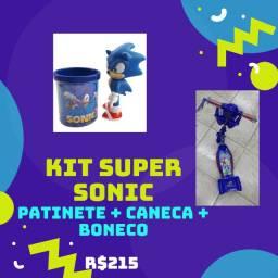 Kit Super Sonic Incrívl - Patinete Musical com LED + Caneca + Boneco de Borracha