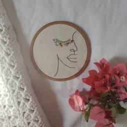 frete grátis - bordado de rosto com flores