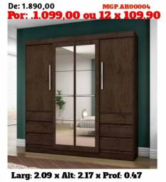 Guarda Roupa Grande 08 Portas-Guarda Roupa Com Espelho-Armario- Liquida MS