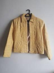 Jaqueta de Couro cor Amarela, praticamente nova